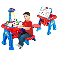 Toys Sphere Multifunctional Learning Desk, Whiteboard, Kids Study Table and Stool with Projector