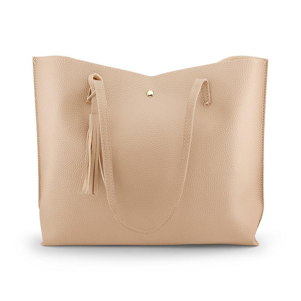 Oct17 Women Large Tote Bag - Tassels Faux Leather Shoulder Handbags, Fashion Ladies Purses Satchel Messenger Bags - Beige