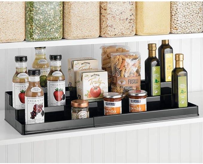 mDesign Especiero para armario de cocina Organizador de especias adaptable con tres niveles gris oscuro Estante extensible para almacenar condimentos y ordenar la cocina