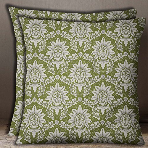 S4Sassy Floral Damask Print 2 Pcs Square Olive Green Cushion Cover Cotton Poplin Pillow Case-18 x 18 Inches - Damask Olive Bed Cover