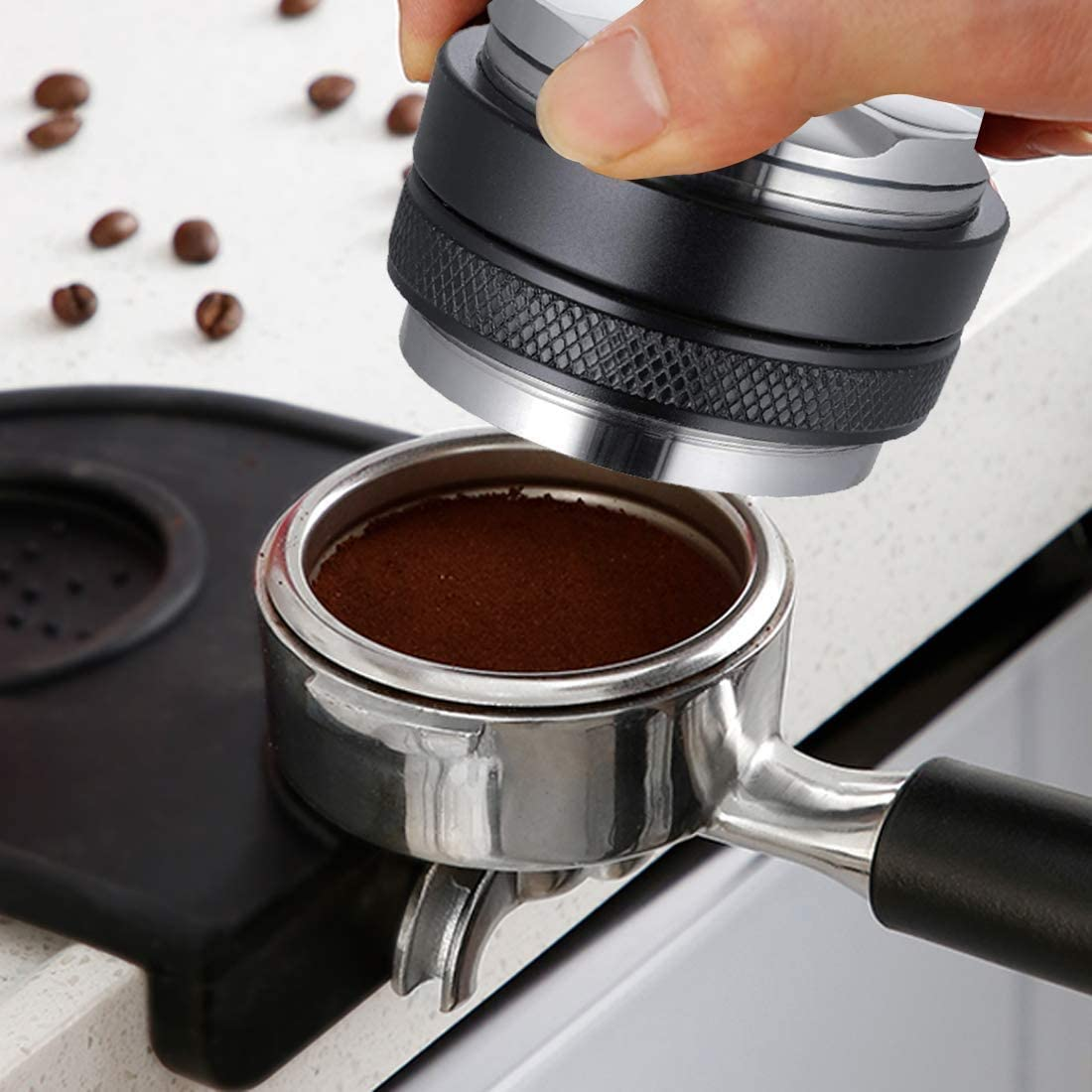black-51mm 51mm Black Coffee Tamper 51mm Stainless Steel Coffee Distributor//Leveler Tool-New 3 Leaf Clover Base Palm Tampers Coffee Leveler Macaroon Tamper Proof for Espresso Coffee Grounds