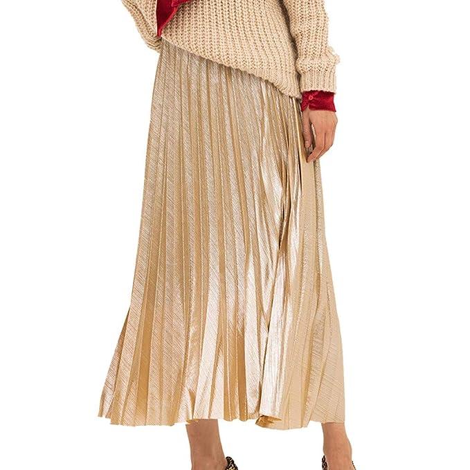15d7deee72 refulgence Elegant Midi Length Skirt Fashion Women's Plain Pleated Mid-Waist  Stretch Skirt(Beige