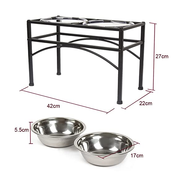 DAZONE Raised Dog Bowls Elevated Cat Feeder with Two Stainless Steel Bowls-Perfect for Water Food or Treats