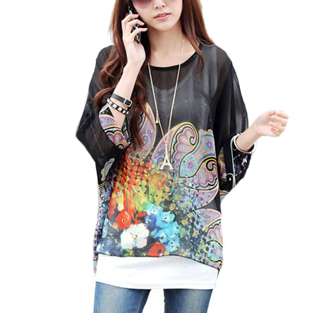 Imixshopcs Women Boat Neck Loose Dolman Sleeve Tops Bohemian Chiffon Blouse T Shirt