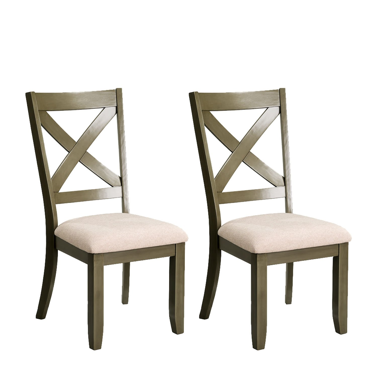Standard Furniture Omaha 2-Pack Side Chairs with Upholstered Seat, Grey by Standard Furniture
