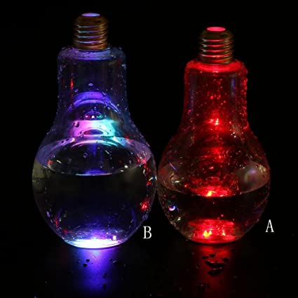 hkfv Fashion diseño botella fría LED Glowing Creative botella de agua breve para leche zumo bombillas