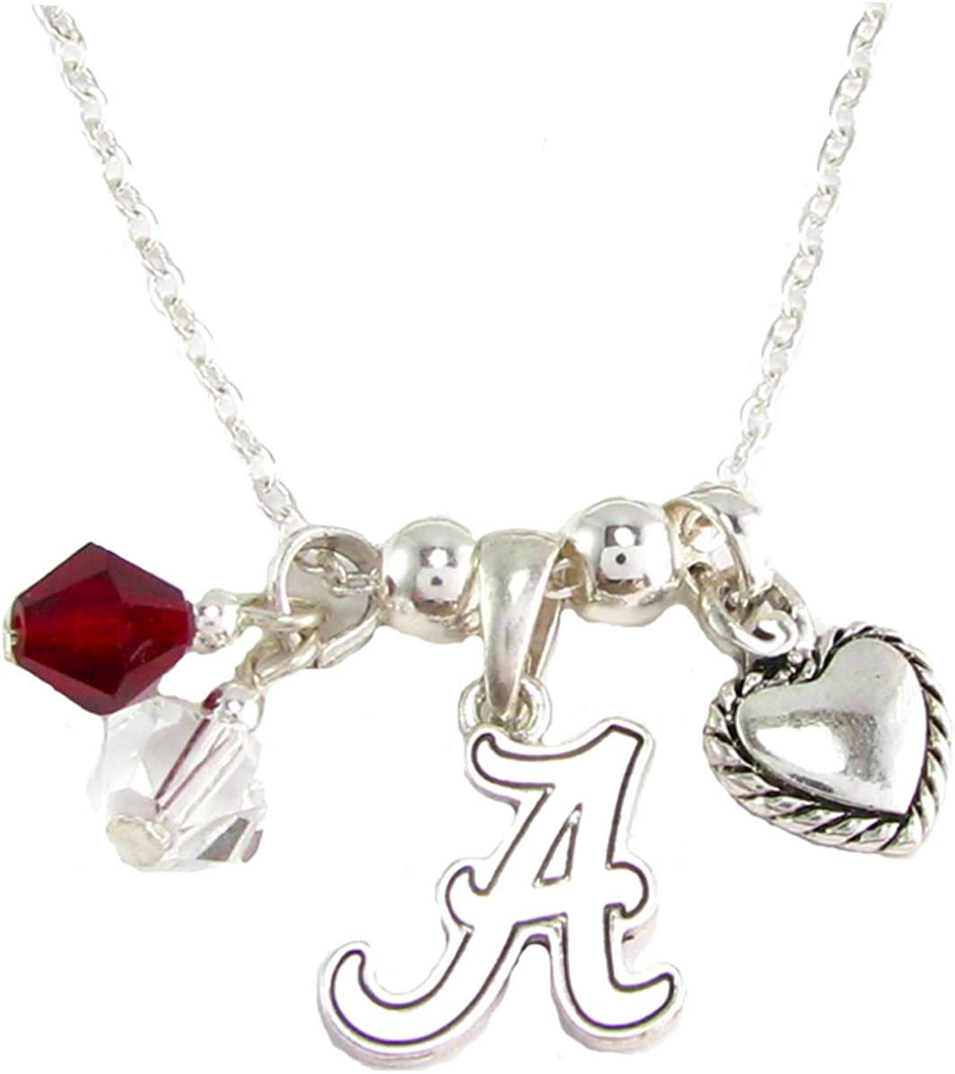Louisville Cardinals Red Black Austrian Crystal Heart Silver Chain Necklace UL by Sports Accessory Store