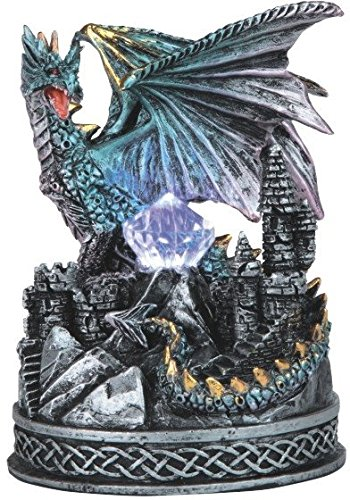 StealStreet SS-G-71478 Blue Dragon on Castle Figurine with Light Up LED Crystal, 4.75