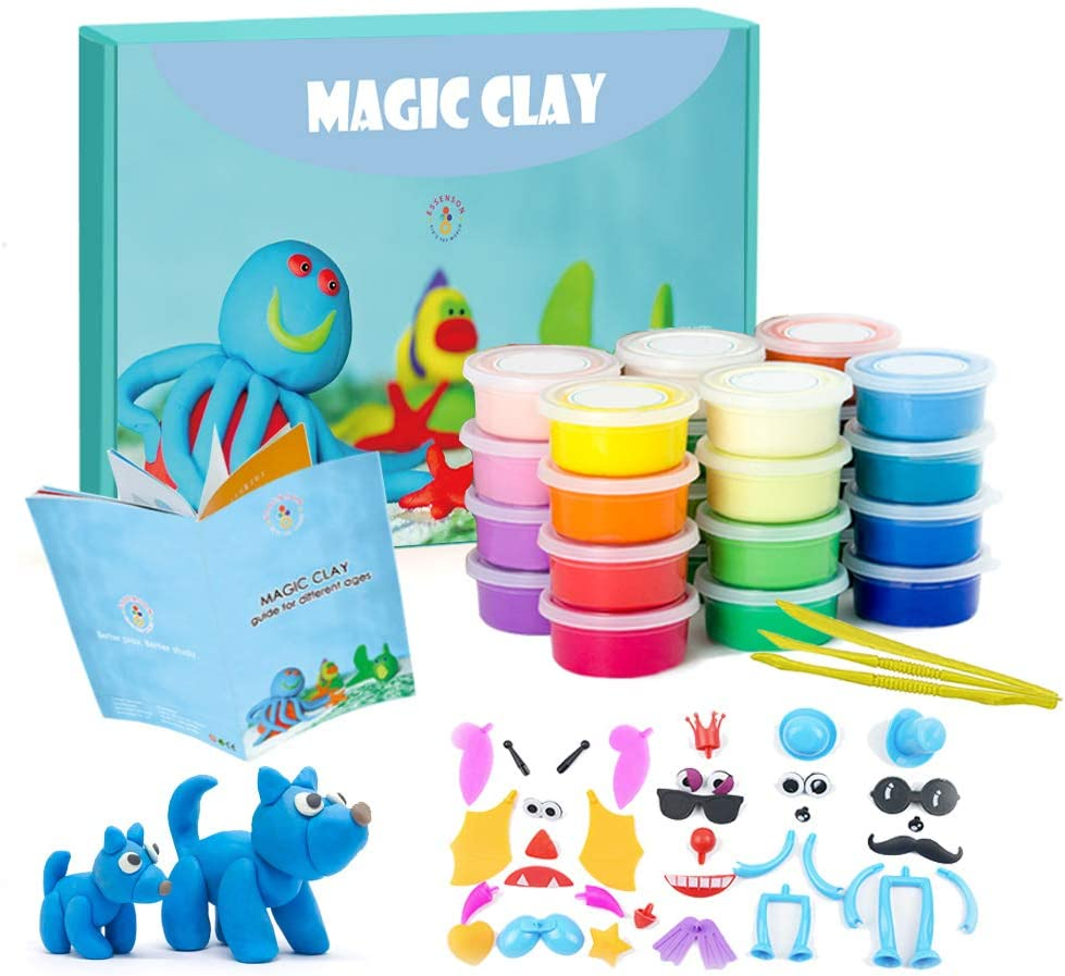 Great Creative Gift for Children TBC The Best Crafts 24 Colours Air Dry Clay with Tool Light Molding Magic Clay for DIY Soft /& Stretchable