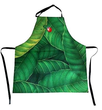 Para U diseños Vintage verde hojas impresión Durable poliéster barbacoa babero Delantal