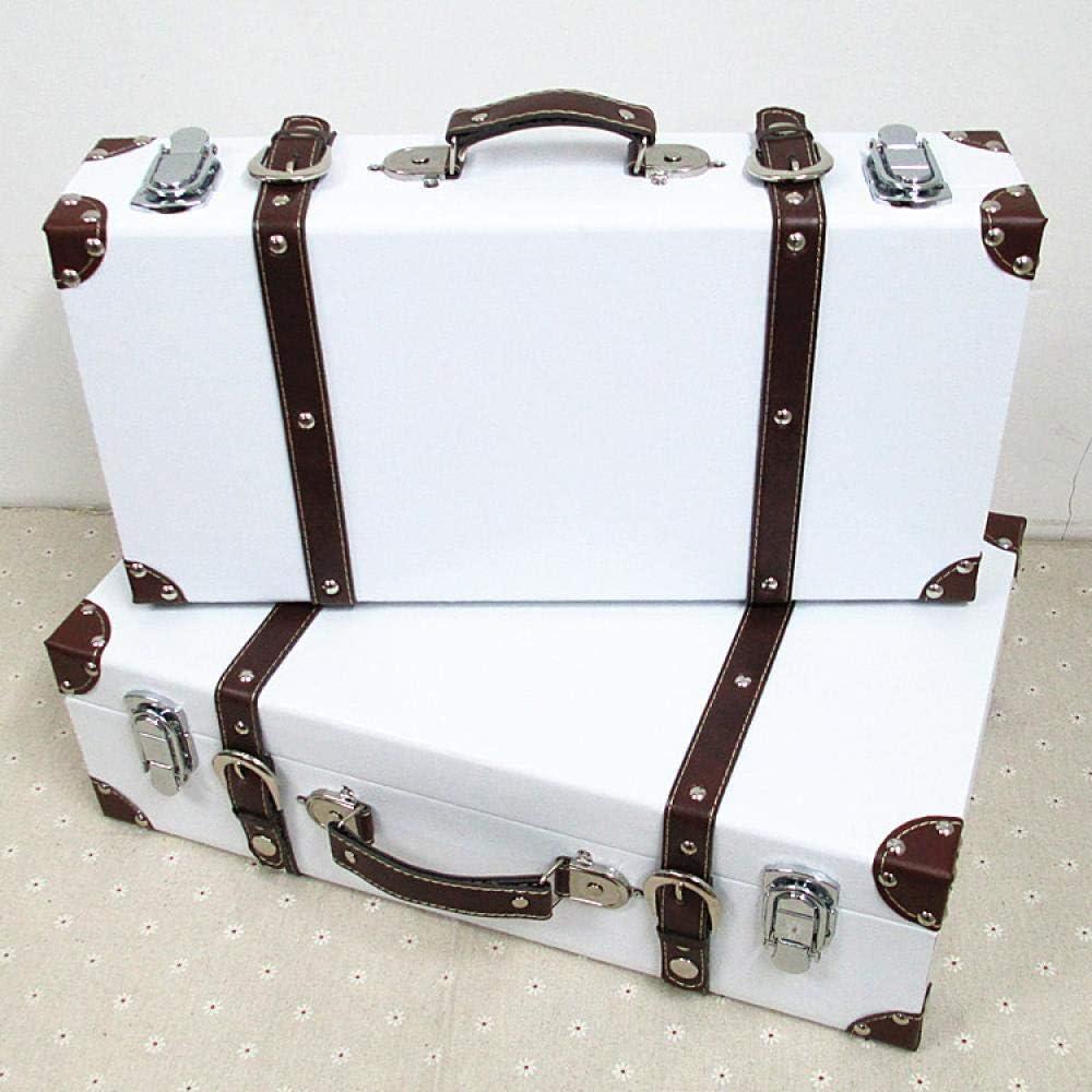 Kjsdzh Maleta Caja De Almacenamiento De Madera De Estilo Vintage Adecuada como Decoración De Estudio Accesorios De Ventana Maleta, Blanca, Pequeña
