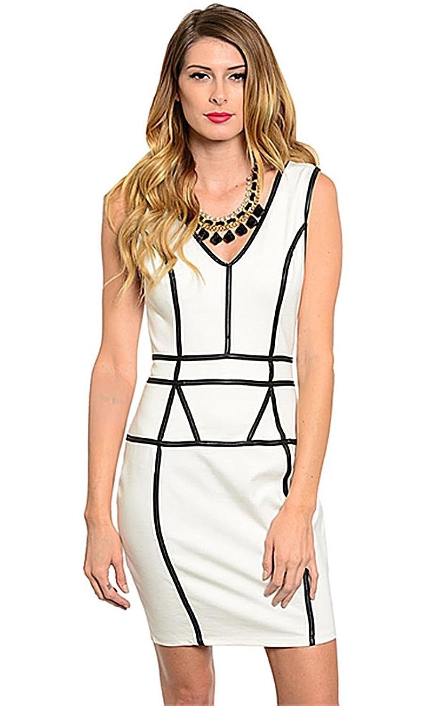 Va Va Voom Women's Sleeveless Sheath Geo Trim Dress