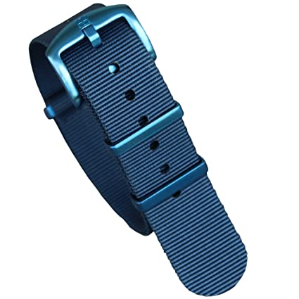 4f16bedd9 Image Unavailable. Image not available for. Color: ZOVNE 22mm Blue watch  band NATO with brushed hardware ...