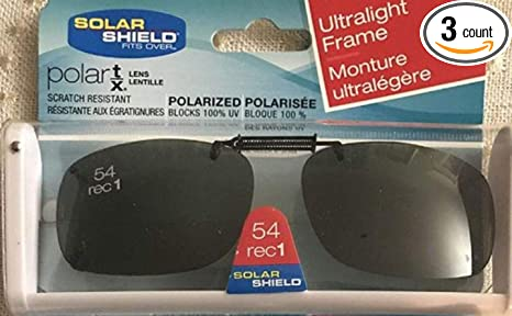 839959783b4 Image Unavailable. Image not available for. Color  3 SOLAR SHIELD Clip-on Polarized  Sunglasses Size 54 rec 1 Black Frameless NEW