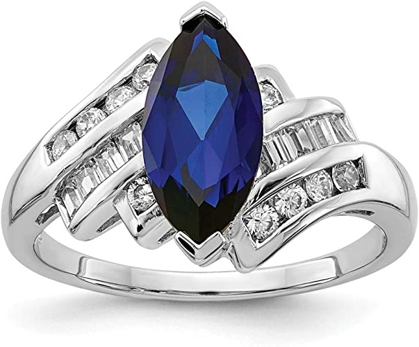 Black Gold Round Blue Sapphire Sterling Silver Fine Fashion Stackable Band Ring