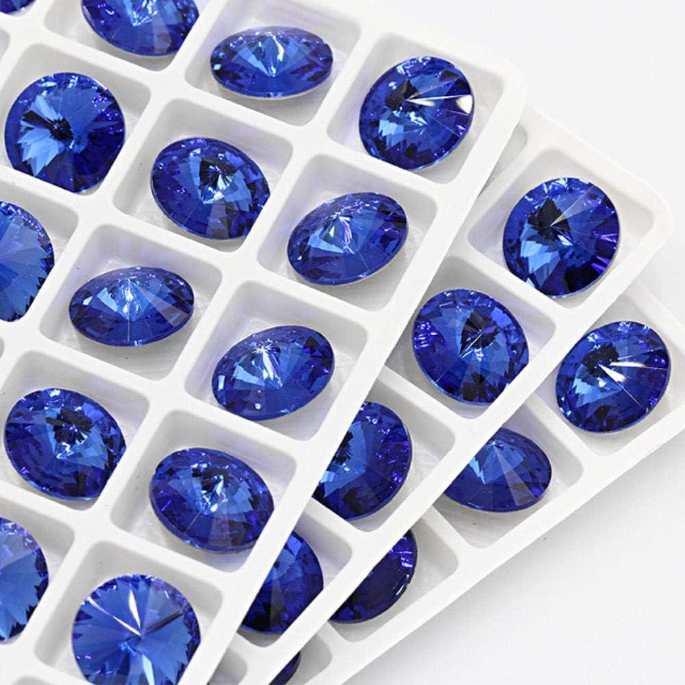 Kaniz - Piedras redondas de cristal K9, diseño de rosa azul mezcladas para manualidades, pegamento, decoración de ropa, zafiro, 10 mm, 20 unidades