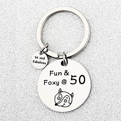 Fifty Personalized Gift 50th Birthday Gift 8811 Milestone Birthday Monogram keyring Heart Keychain 50 /& Fabulous Birthday Keychain
