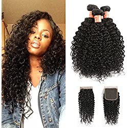 "HPH 100% Unprocessed Brazilian Kinky Curly Virgin Hair 3 Bundles With CLosure (12 14 16+10"" Natural Black) 10A Brazilian Curly Virgin Hair Extensions Human Hair With Free Part Lace Closure"