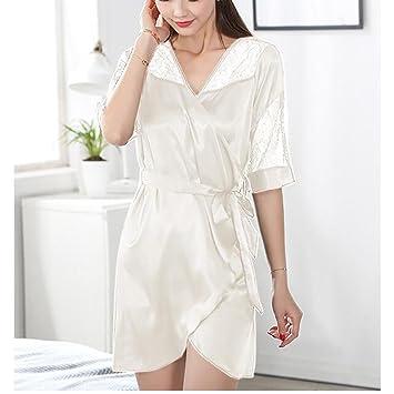 HXQ Damen Silk Lace Bademäntel Kimono Dressing Gown Bademantel ...