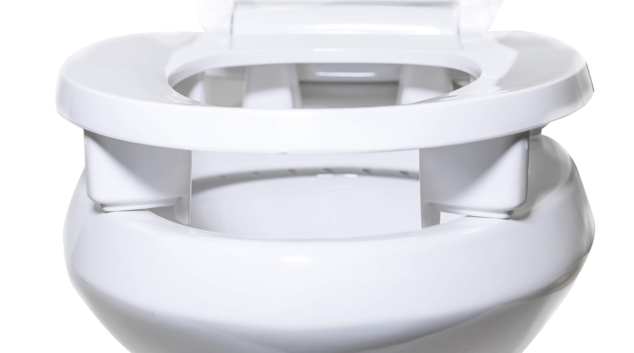Centoco 3L800STS-001 Elongated 3'' Lift, Raised Plastic Toilet Seat, Closed Front with Cover, ADA Compliant Handicap Medical Assistance Seat, White by Centoco (Image #4)