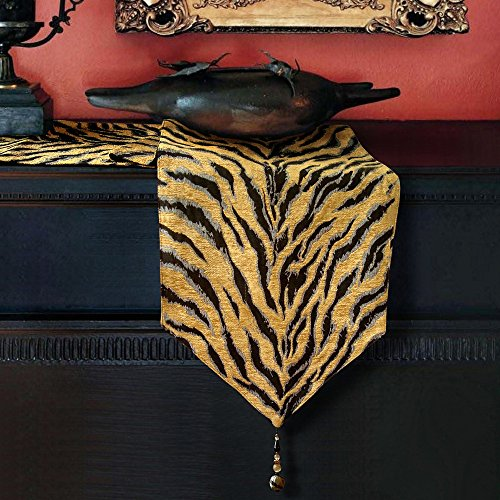 Artbisons Table Runner Golden Tiger 72x13 Thickly Soft Luxury Handmade Tablerunner (Bison Yarn Gold)