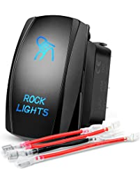 Nilight 90008B Rock Rocker Bar 5Pin Laser On/Off LED Light 20A/12V 10A/24V Switch Jumper Wires Set for Jeep Boat Trucks,2...