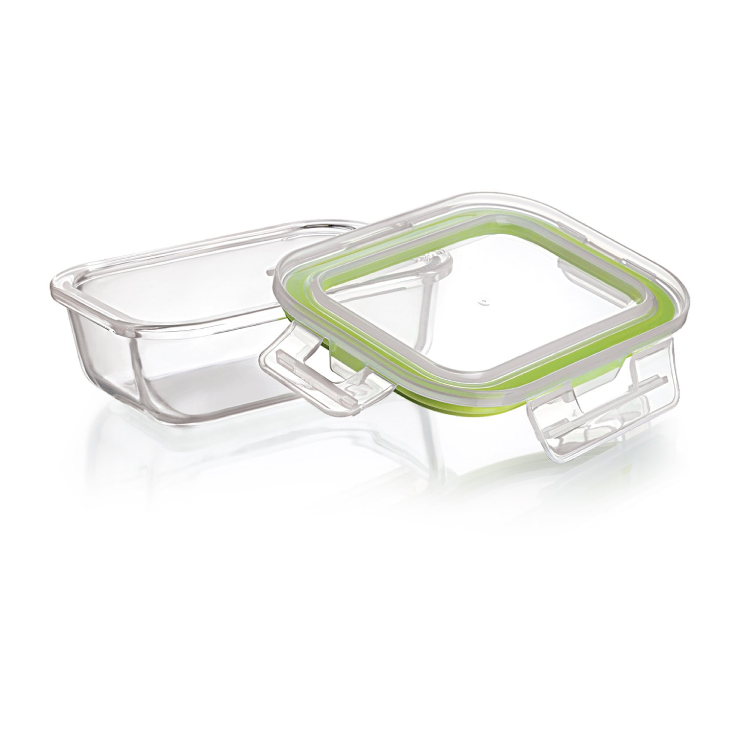 Cello Emili Rectangle Glass Container with Lid, 370ml, 2-Pieces, Clear