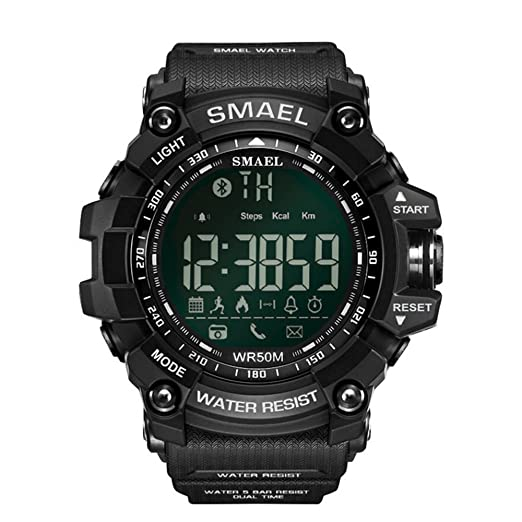 Mens diseñador negro Fitness Tracker reloj resistente al agua deportes atléticos gimnasio Workout relojes para hombre: Amazon.es: Relojes
