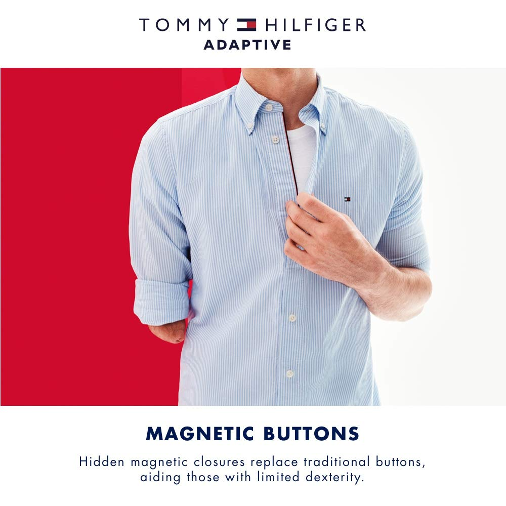Tommy Hilfiger Mens Adaptive Magnetic Long Sleeve Button Shirt Regular Fit