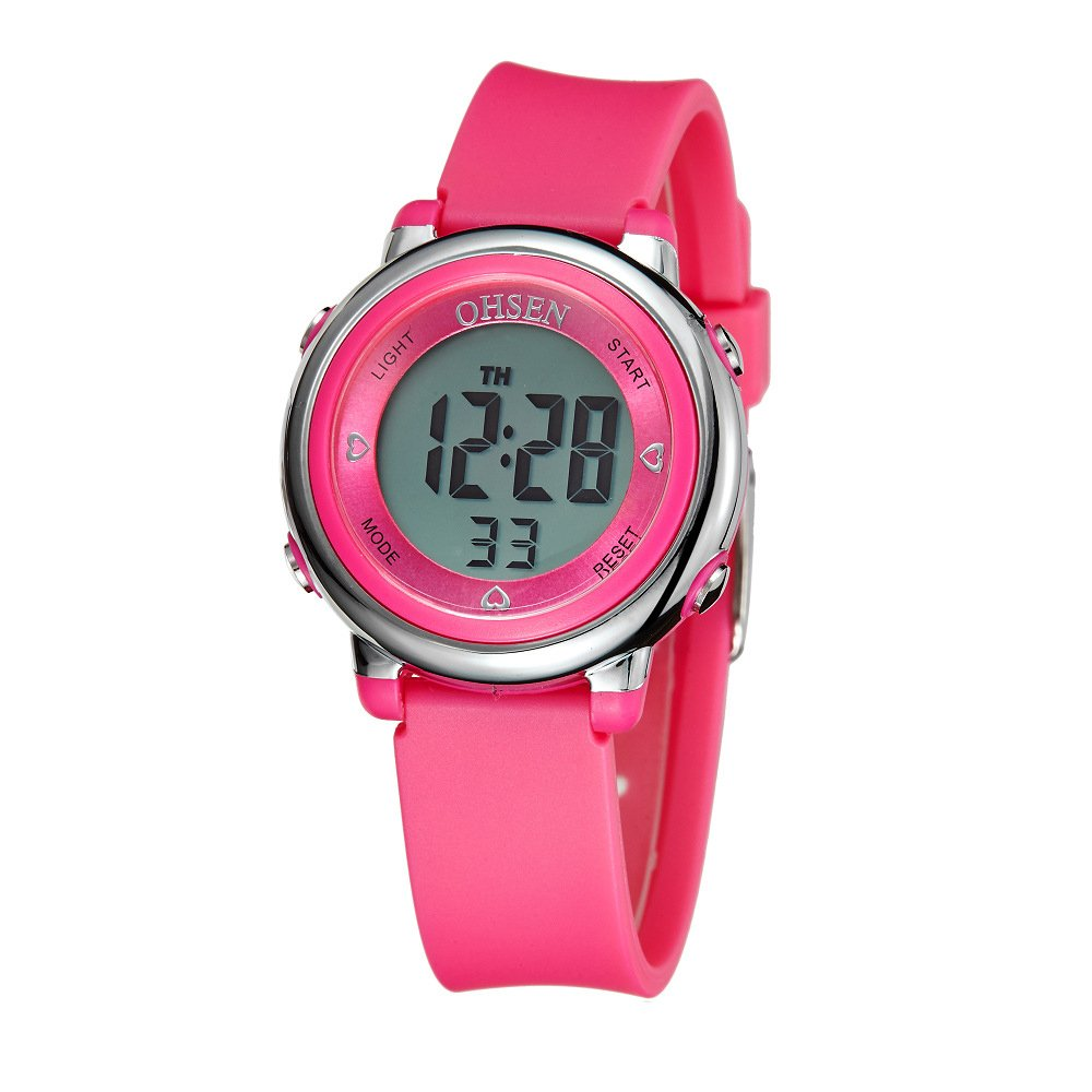 Smalody Sports Digital Watches Waterproof Casual Watch Resistant Wristwatches Silicone Cute For Children Girls Students (Pink) by Smalody
