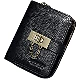LAORENTOU Women Short Wallet Genuine Leather Card Holder Wallets Coin Purse (Black)