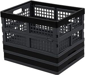 Leendines Collapsible Crates, 3 Pack Plastic Foldable Storage Crate (Dark Gray)