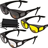 3 PAIRS- Escort Advanced System Safety Glasses Fits Over Most Prescription Eyewear - FREE Rubber EAR LOCKS and Microfiber Pouch! -Gloss Black Frame