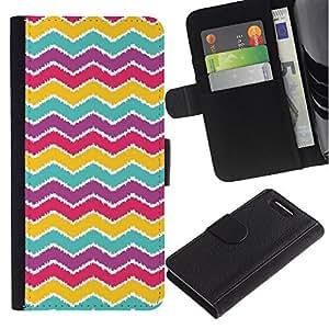 LASTONE PHONE CASE / Lujo Billetera de Cuero Caso del tirón Titular de la tarjeta Flip Carcasa Funda para Sony Xperia Z1 Compact D5503 / Pattern Purple Teal Red Pink