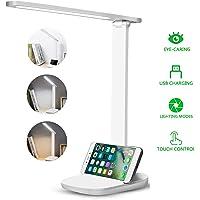 Lámpara de Escritorio LED, Lámparas de Mesa USB Recargable Cuidado a Ojos Desk Lamp 3 Modos de Brillo Regulable Para…