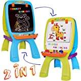 deAO Draw and Doodle Easel for Children 2 in 1 Double Sided Boards Blackboard and Magnetic Whiteboard Playset with Pen and Magnets