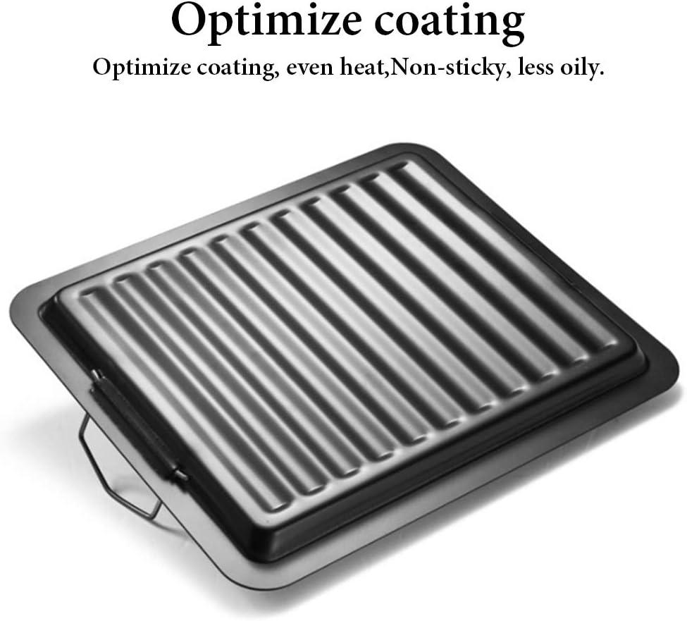 Linlang Grilltablett Grillhalter Backform Antihaft-Grillpfanne mit Edelstahlstreifen Grillplatte mit Griff zum Kochen im Freien//Innenbereich