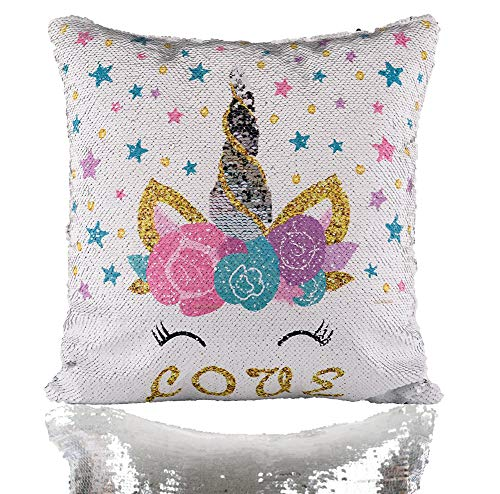 (Unicorn Mermaid Scale Sequins Pillow Case Reversible Star Throw Cushion Cover Decor for Christmas, Birthday Party, Silver Pillowcase, 16
