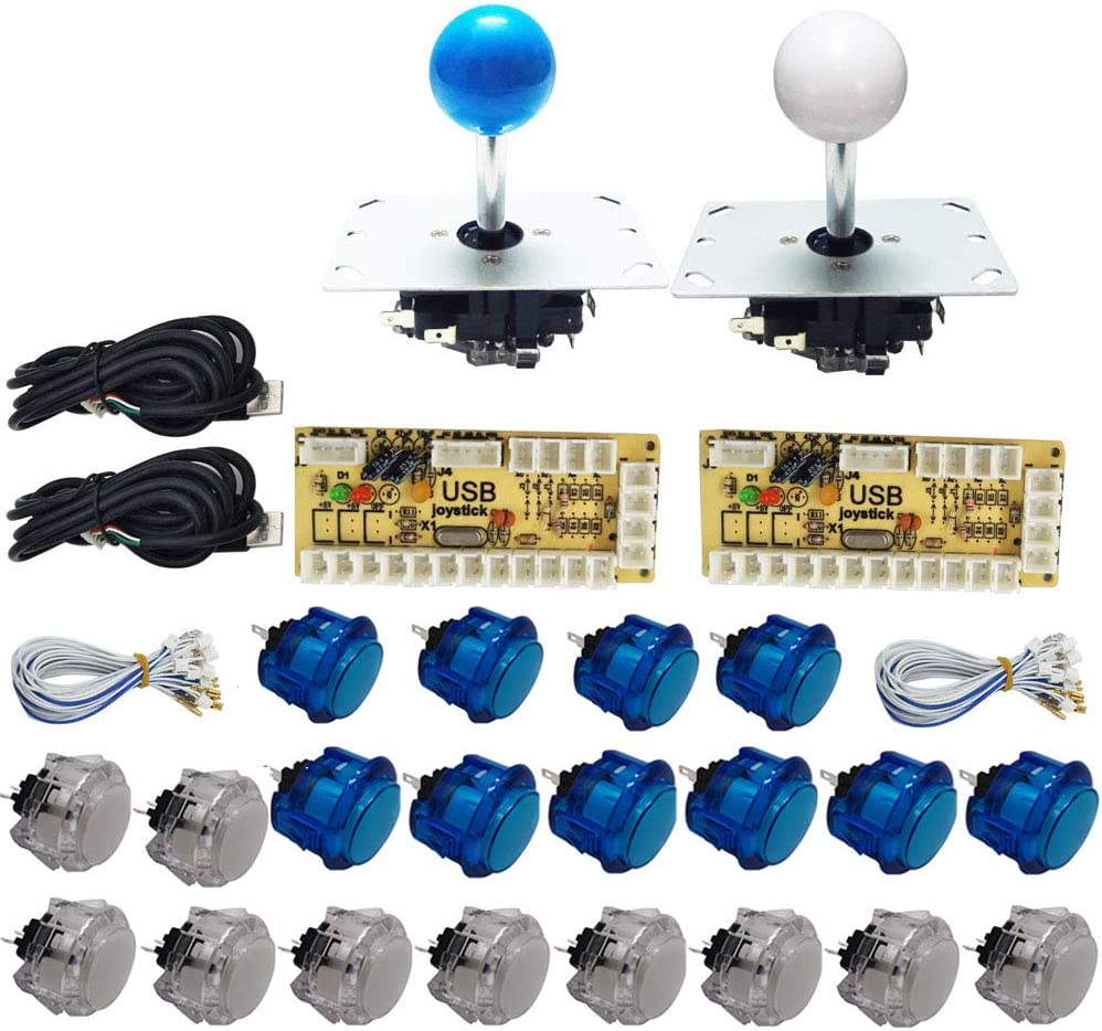 Yellow and Green Tongmisi Zero Delay Arcade Joystick and Button Kit USB Encoder Transparent Push Button with Cables for Arcade Game Machine MAME //PC //Raspberry Pi