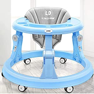 Olz Adjustable Height Baby Walkers and Activity Center for Boys and Girls with Big Clean Tray and 6 Mute Rubber Multi-Directional Wheels, Anti-Rollover Folding Toddler Walker for Baby 6-18Months