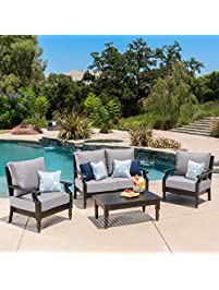 westin outdoor 4 pc aluminum frame deep seating water resistant cushion chat set