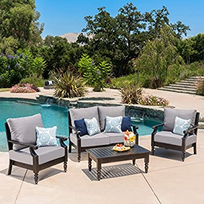 "Westin Outdoor 4 Pc Aluminum Frame Deep Seating Water Resistant Cushion Chat Set - This sleek, elegant, sophisticated outdoor chat set is the perfect addition to any patio setting. Featuring a strong aluminum frame that is rust resistant along with extra thick water resistant cushions, this set has an air of grace all its own. The D seating also allows for maximum comfort while in use, making this set not only the most comfortable, but the most enjoyable to use all summer long. Includes: Two (2) Club Chairs, One (1) Loveseat, One (1) Coffee Table Dimensions - Club Chair: 32.50""D x 29.75""W x 36.70""H 