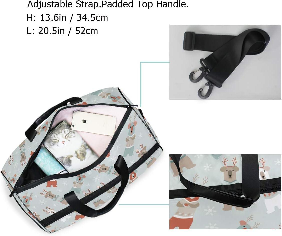 FANTAZIO Cartoon Bear Snowflake Background Sports Duffle Bag Gym Bag Travel Duffel with Adjustable Strap