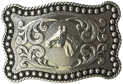 Nocona Men's Silver Horse Head Scalop Rectangle Buckle, One Size