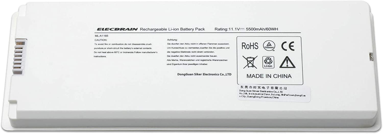 "10.8V 5600mAh A1181 Laptop Battery for Apple 13"" MacBook A1185 (Mid. / Late 2006, Mid. / Late 2007, Early/Late 2008, Early/Mid. 2009) Fits MA254 MA255 MB402 MA566 MA561 MA699 MA700 MB061 MB062 MB402"