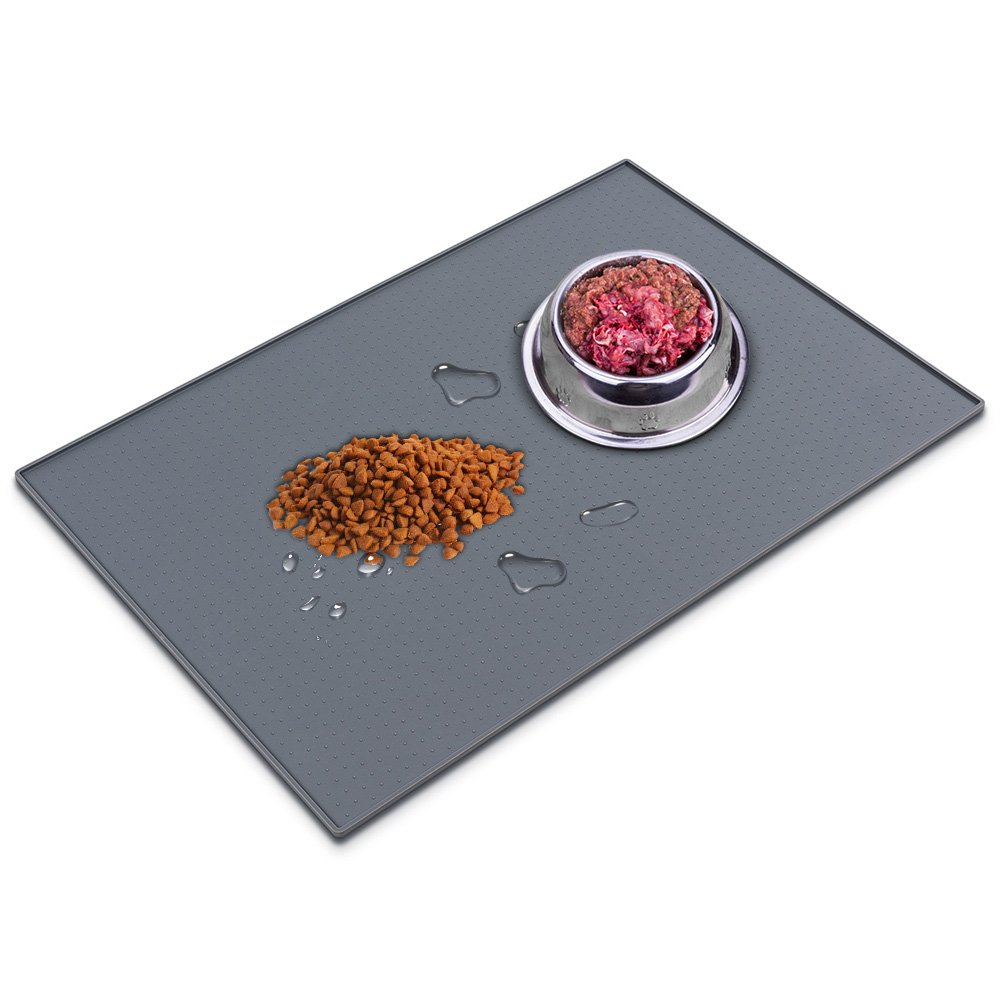 PETPAWJOY Dog Food Mat, Waterproof Pet Food Mats 23.6'' 15.7'' FDA Approved Silicone Dog Feeding Mat, Cat Water Bowl Food Mat Gray