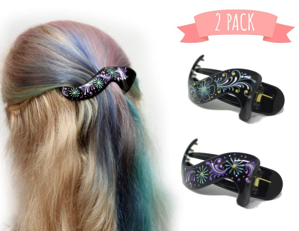 Hair Barrette Hand painted Hair Clips. Styling for Women & Girls. This Attractive Hair Accessory Can Be Used As a ponytail holder Or a Hair Grip. For thick & thin hair. 2 Pcs Uniquely Hand Crafted