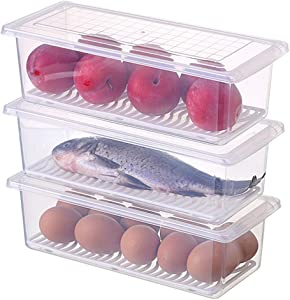 STARSLIFE Food Storage Containers, Refrigerator Classified Organizer Case with Removable Drain Plate and Lid, Plastic Stackable Box Keep Fresh for Fish, Meat, Vegetables, Fruits ect. (Pack of 3)