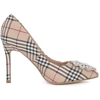 266b9972317f2 Lauren Lorraine Giselle-2 Slip On Rhinestone Slim Heel Stiletto Nude Plaid  Pump (6.5