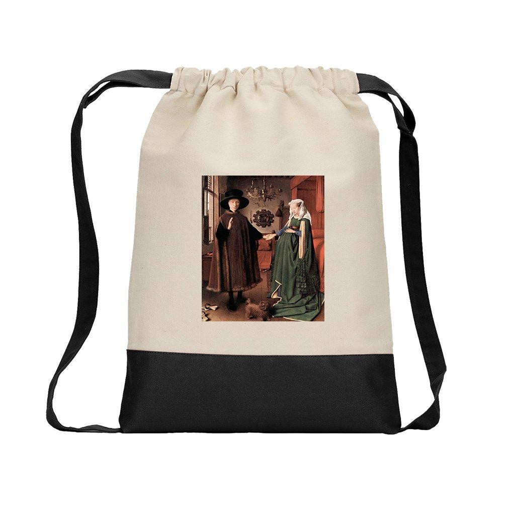 Arnolfini Wedding (Van Eyck) Canvas Backpack Color Drawstring Bag - Black